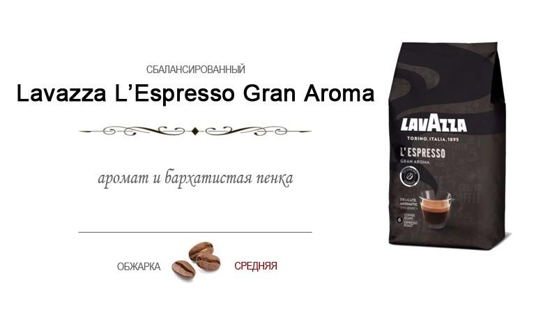 Итальянский кофе в зернах Lavazza Espresso Gran Aroma